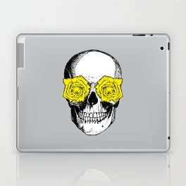 Skull and Roses | Grey and Yellow Laptop & iPad Skin