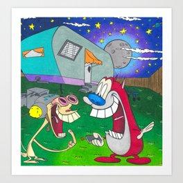 Ren And Stimpy Nickelodeon 90s Happy Happy Joy Joy Art Print