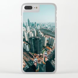 Aerial Cityscape and Legs (Color) Clear iPhone Case