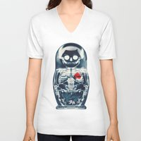 doll V-neck T-shirts featuring Nesting Doll X-Ray by Ali GULEC