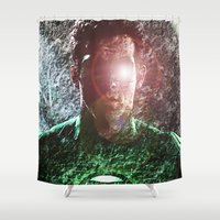 green lantern Shower Curtains featuring The Green Lantern  by André Joseph Martin