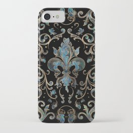 Fleur-de-lis ornament Abalone Shell and Gold iPhone Case