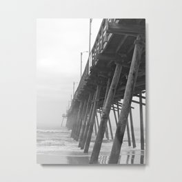 Morning Fog at the Seashore, Black and White Outer Banks Metal Print