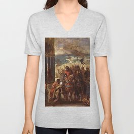 Eugne Delacroix - Prise de Constantinople par les croises Unisex V-Neck