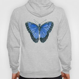 Blue Morpho butterfly watercolor painting Hoody