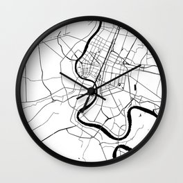 Bangkok Thailand Minimal Street Map - Black and White Wall Clock