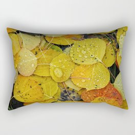 Water droplets on autumn aspen leaves Rectangular Pillow