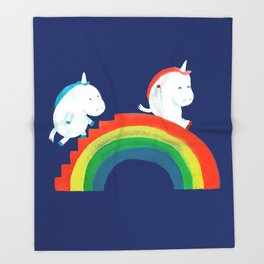 Unicorn on rainbow slide Throw Blanket