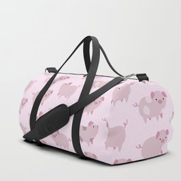 Cute Pink Piglets Pattern Duffle Bag