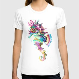 Seahorse , multi colored sea world animal art, design, cute animal art beach T-shirt