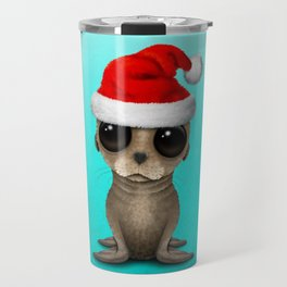 Christmas Sea Lion Wearing a Santa Hat Travel Mug