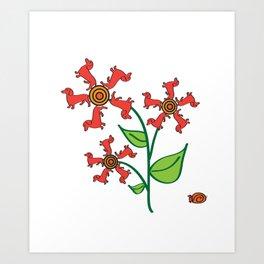 Doxie Flower - Dachshund Dog - Weiner Dog - Weenie Dog Art Print