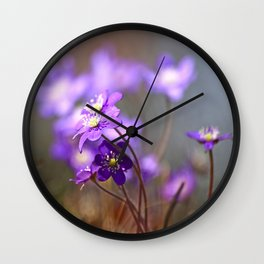 Hepatica In Spring Forest  Wall Clock