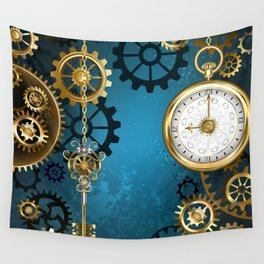 Turquoise Background with Gears ( Steampunk ) Wall Tapestry