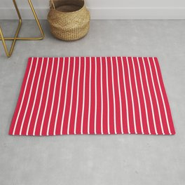 Vertical Lines (White/Crimson) Rug