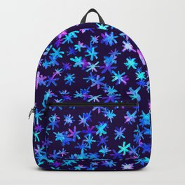 Watercolor Christmas pattern with hand drawn snowflakes. Backpack