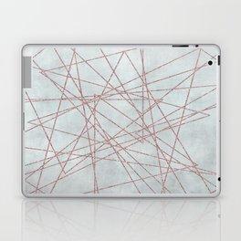 Rose Gold Glitter Line Art On Teal Laptop & iPad Skin