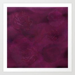 Tonal Burgundy Roses Art Print