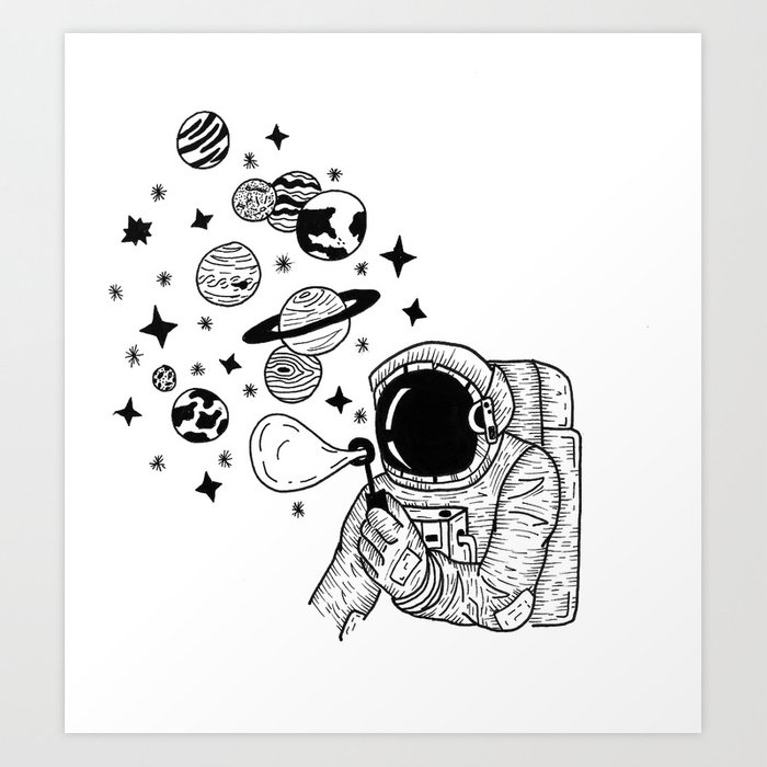 Astronaut Blowing Bubbles Art Print by voyagerart | Society6