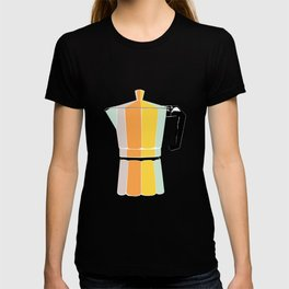 Retro Coffee Pot - Vintage Spring Colors on Deep Breath Background T-shirt