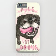 Black Pug dog - Pugs Not Drugs Slim Case iPhone 6s