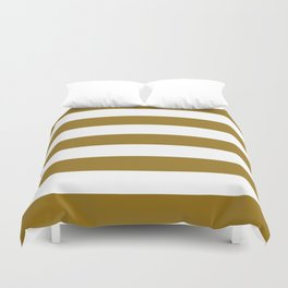 Drab - solid color - white stripes pattern Duvet Cover