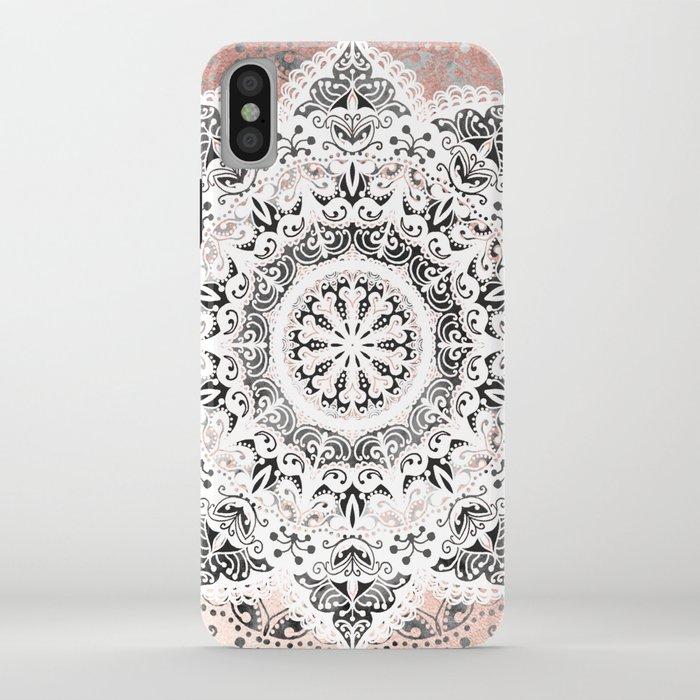 Dreamer Mandala White On Rose Gold iPhone Case