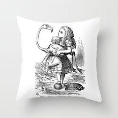 Vintage Alice in Wonderland flamingo croquet antique book drawing emo goth illustration art print  Throw Pillow