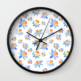 Stylized ornament with the image of daffodils. Wall Clock