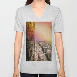 Colorful Rainbow View from Sagrada Familia over the Old City of Barcelona Unisex V-Neck