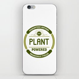 100% Plant Powered & Organically Fueled Green Badge iPhone Skin