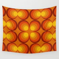 70s Wall Tapestries featuring 70s Circle Design - Orange Background by erinsaurus