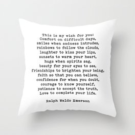 Ralph Waldo Emerson Quote, This Is My Wish For You, Motivational Quote, Throw Pillow