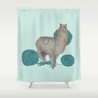 lama Shower Curtains featuring Lama by Anoukisch