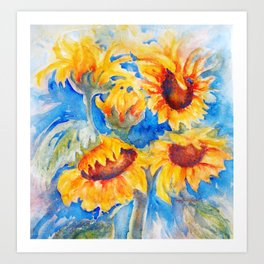 Sunflowers x 5 watercolor by CheyAnne Sexton Art Print