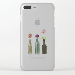 flowers in glass bottles . Pastel colors . artwork Clear iPhone Case