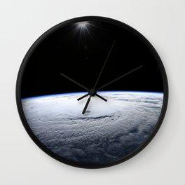 85. Space Station Flight Over Hurricane Lane Wall Clock
