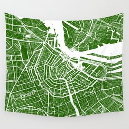 Amsterdam, Netherlands, City Map - Green Wall Tapestry