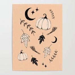 Halloween, pumpkin, moon, stars and leaf Poster