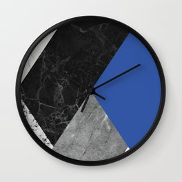 Black and White Marbles and Pantone Lapis Blue Color Wall Clock