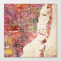 miami Canvas Prints featuring Miami by Map Map Maps