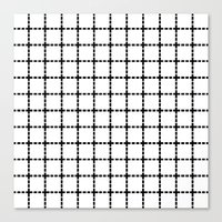 Dotted Grid Black on White Canvas Print