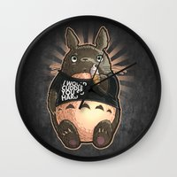 cuddle Wall Clocks featuring CUDDLE MONSTER by Tim Shumate