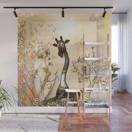 Funny steampunk giraffe, clocks and gears Wall Mural