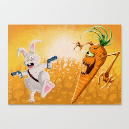 Bad Wabbit vs. Killer Carrot Canvas Print