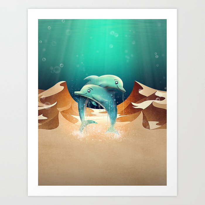 Dolphin Desert Art Print