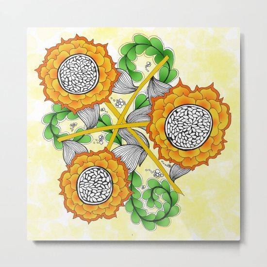 Zentangle Happy Yellow and Orange Sunflowers Metal Print