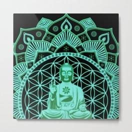 Glowing Buddha Flower Of Life Black Blue & Green Mandala Metal Print