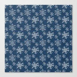 Hand Drawn Snowflakes on Blue Canvas Print