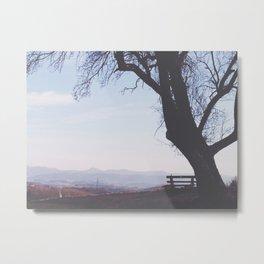 Bench and Tree Metal Print